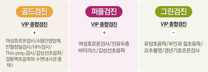 VIP여성종합건강검진 골드검진, 퍼플검진, 그린검진